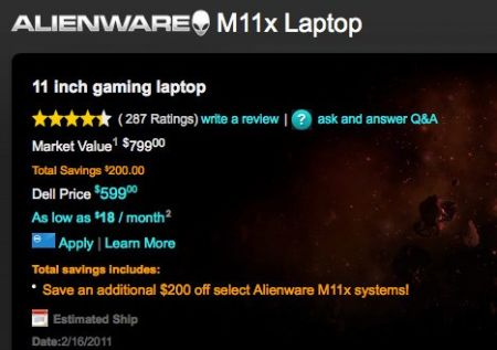 Alienware M11x starting during only $599, though not for prolonged